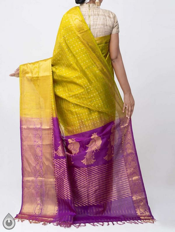 Yellow Pure Handloom Arani Kanjivaram Silk Cotton Saree -UNM38005
