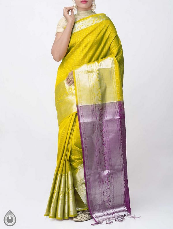 Yellow Pure Handloom Arani Kanjivaram Silk Cotton Saree -UNM38007