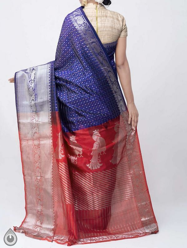 Blue Pure Handloom Arani Kanjivaram Silk Cotton Saree -UNM38008