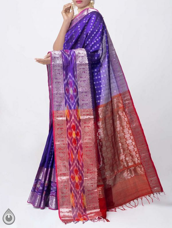 Online Shopping for Blue Pure Handloom Gadwal Silk Cotton Saree with Weaving from Andhra Pradesh at Unnatisilks.comIndia
