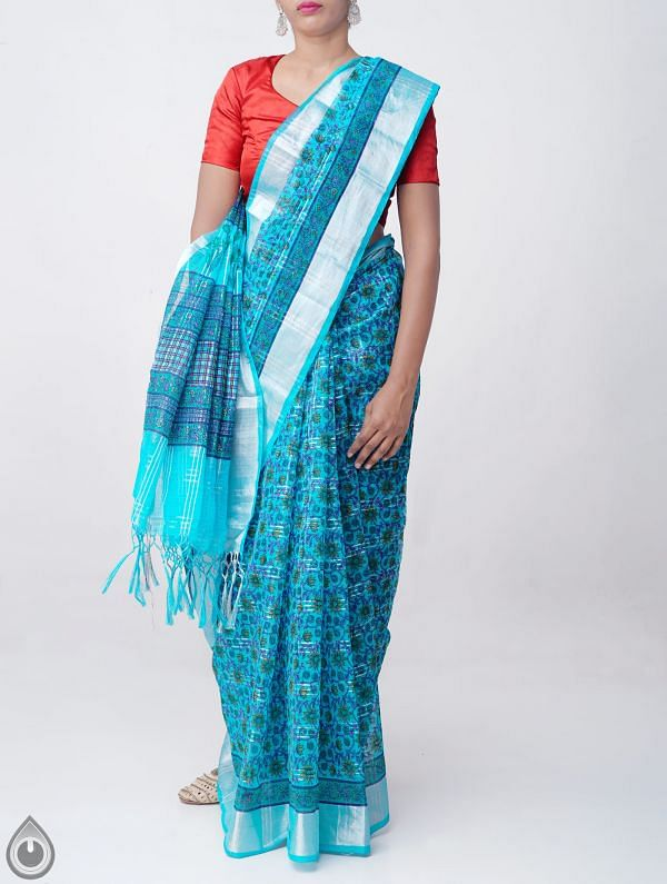 Online Shopping for Blue Block Printed Kota Cotton Checks Saree with Tassels with Block Prints from Rajasthan at Unnatisilks.comIndia