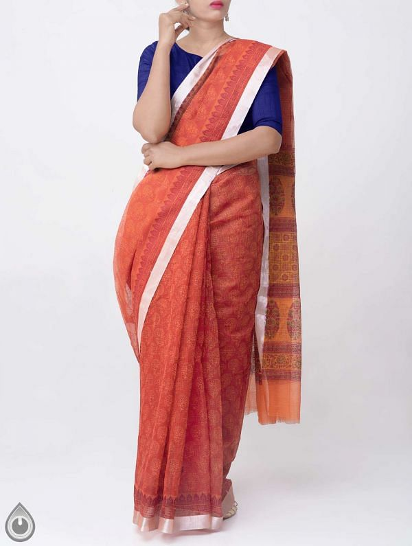 Red Block Printed Kota Cotton Saree -UNM38037