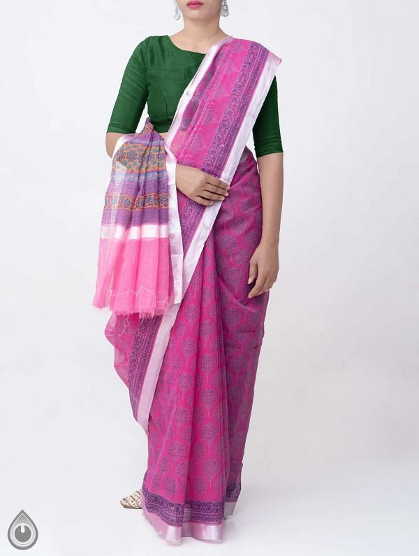 Online Shopping for Pink Block Printed Kota Cotton Saree with Block Prints from Rajasthan at Unnatisilks.comIndia