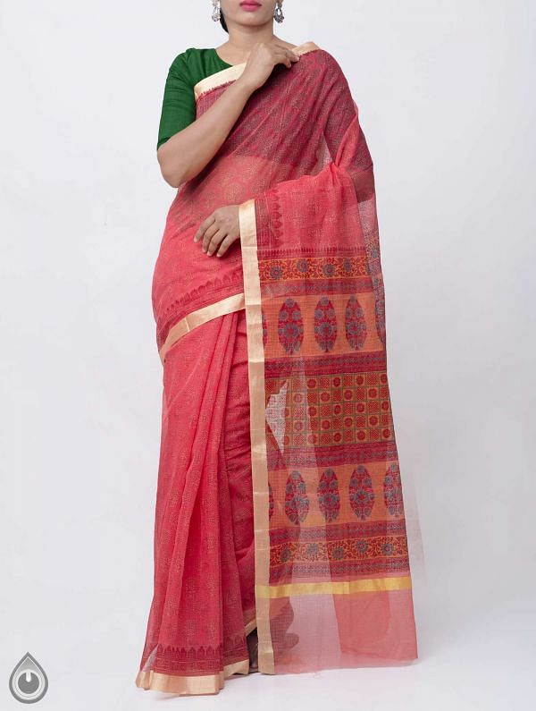 Online Shopping for Red Block Printed Kota Cotton Saree  with Block Prints from Rajasthan at Unnatisilks.comIndia
