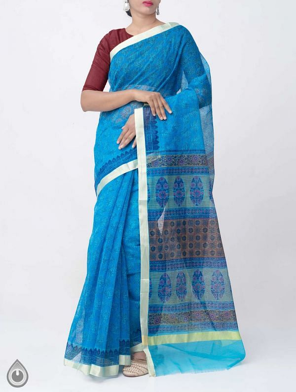 Online Shopping for Blue Block Printed Kota Cotton Saree  with Block Prints from Rajasthan at Unnatisilks.comIndia