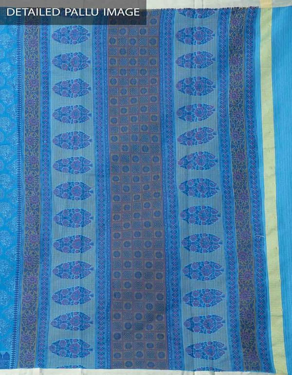 Blue Block Printed Kota Cotton Saree -UNM38046