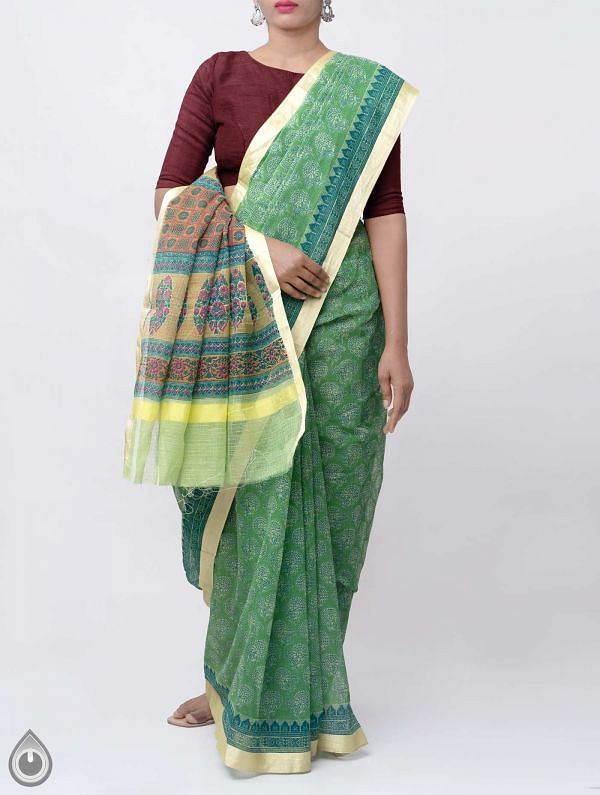 Online Shopping for Green Block Printed Kota Cotton Saree with Block Prints from Rajasthan at Unnatisilks.comIndia