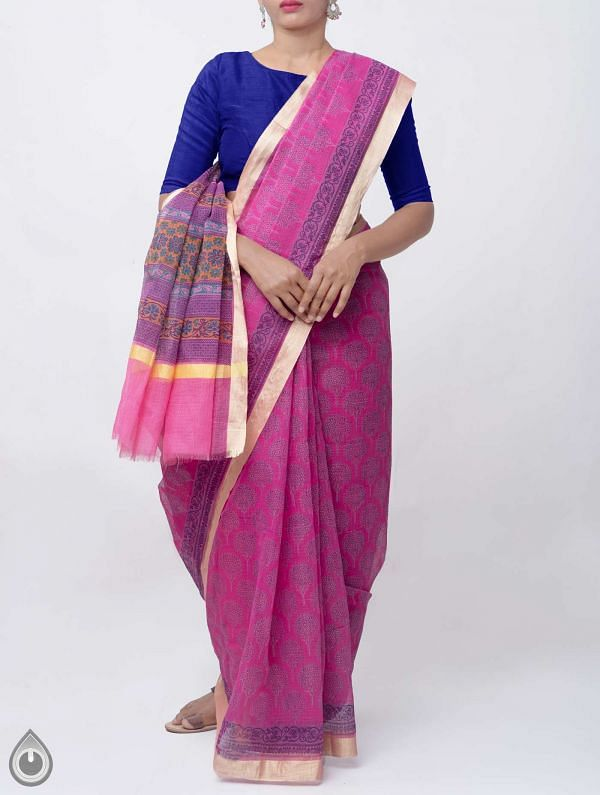 Pink Block Printed Kota Cotton Saree