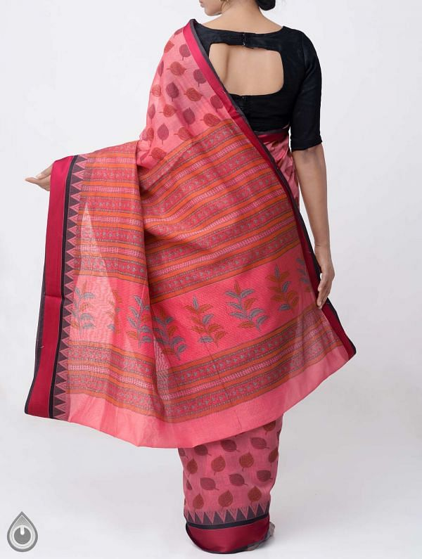 Red Printed Chanderi Sico Saree -UNM38061