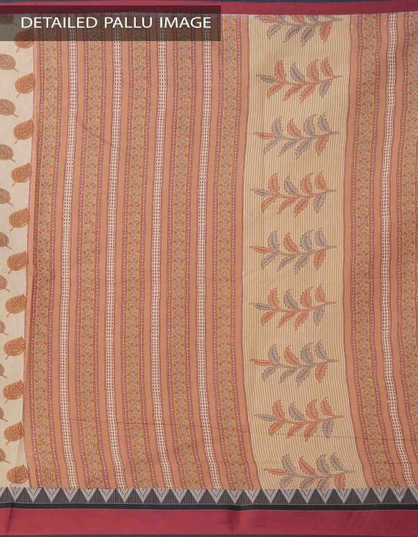 Online Shopping for Beige Printed Chanderi Sico Saree with Prints from  Madhya Pradesh at Unnatisilks.comIndia