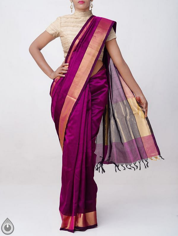 Online Shopping for Purple Pure Handloom Uppada Silk Cotton Saree with Tassels with Weaving from Andhra Pradesh at Unnatisilks.comIndia
