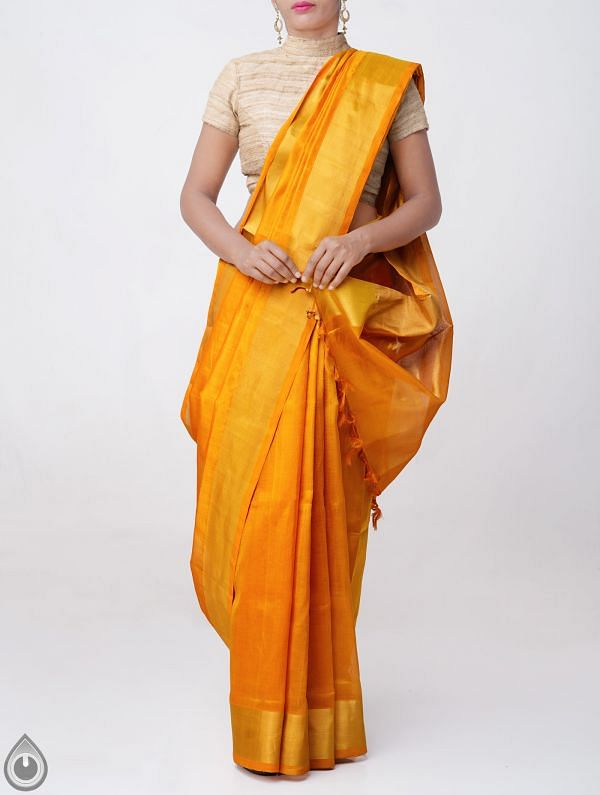Online Shopping for Yellow Pure Handloom Uppada Silk Cotton Saree with Tassels with Weaving from Andhra Pradesh at Unnatisilks.comIndia