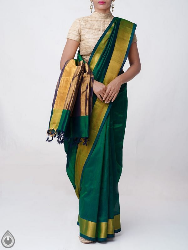 Online Shopping for Green Pure Handloom Uppada Silk Cotton Saree with Tassels with Weaving from Andhra Pradesh at Unnatisilks.comIndia