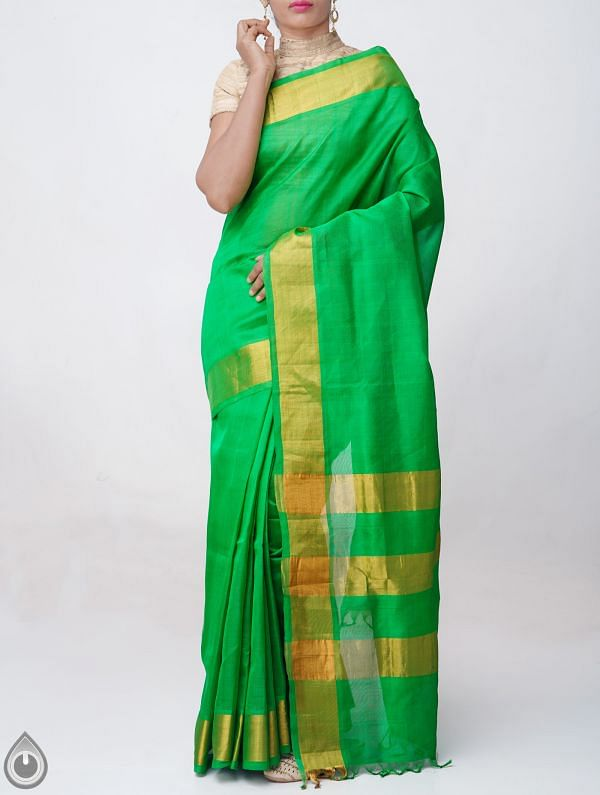 Green Pure Handloom Uppada Silk Cotton Saree with Tassels-UNM38075