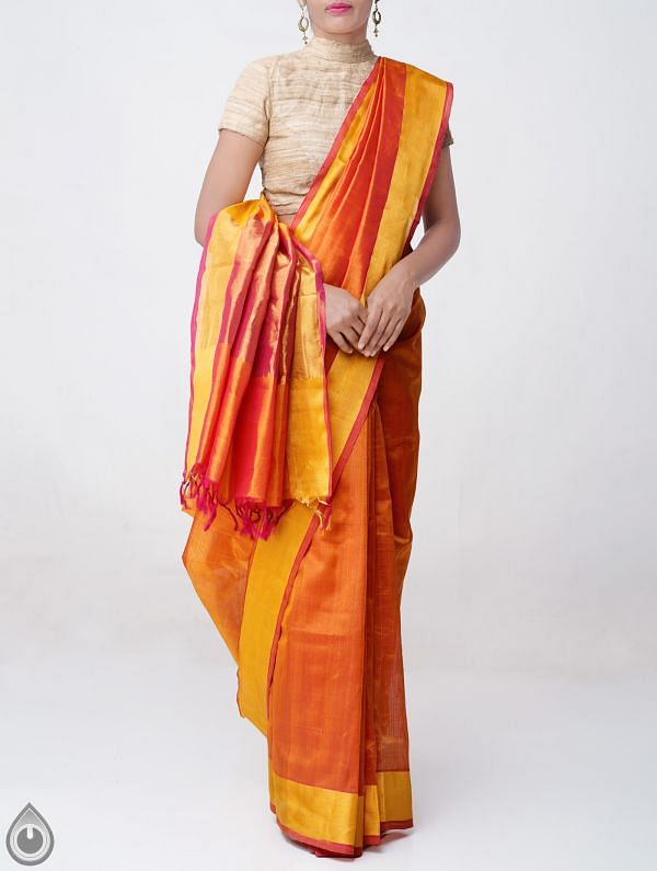 Orange Pure Handloom Uppada Silk Cotton Saree with Tassels-UNM38076