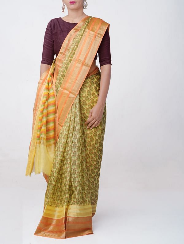 Yellow Floral Printed Pure Kota Silk Saree