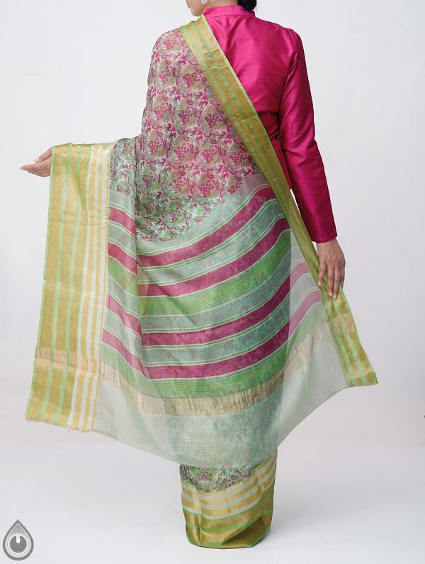 Green Floral Printed Pure Kota Silk Saree