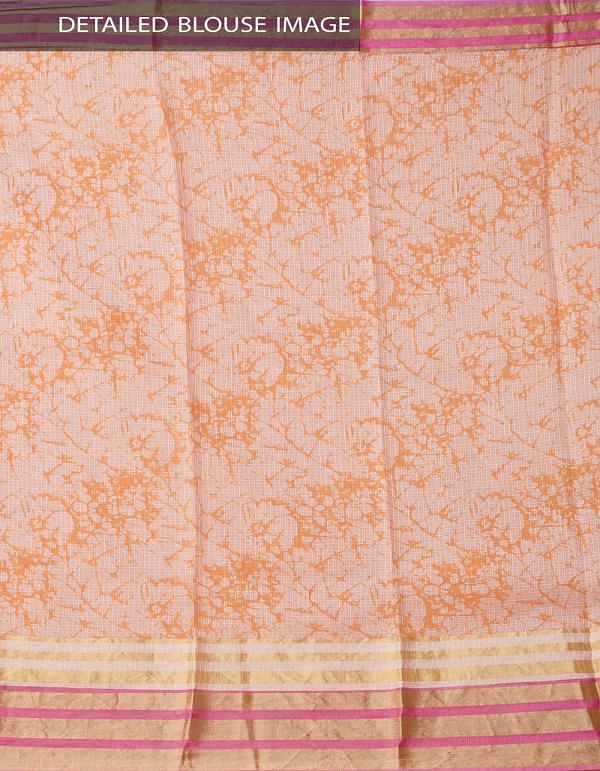 Peach Orange Floral Printed Pure Kota Silk Saree