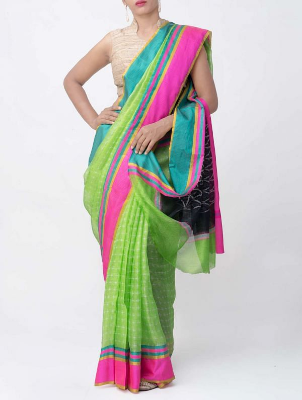 Green Ikat Printed Pure Kota Silk Saree