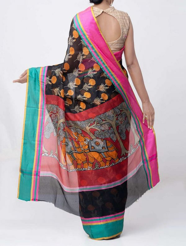 Black Floral Printed Pure Kota Silk Saree