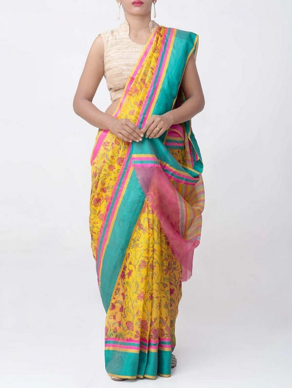 Online Shopping for Yellow Floral Printed Pure Kota Silk Saree with Floral Prints from Rajasthan at Unnatisilks.comIndia
