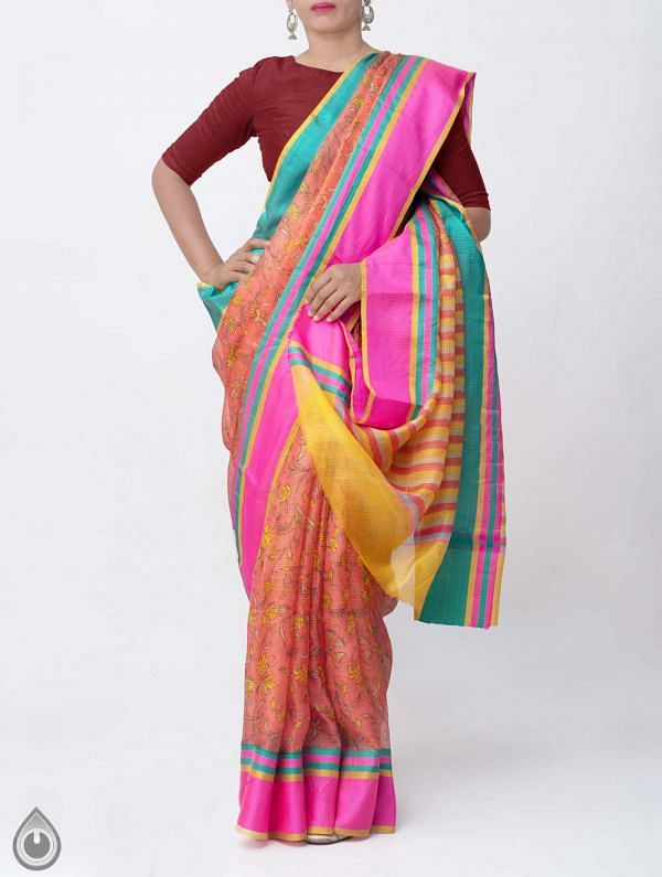 Orange Floral Printed Pure Kota Silk Saree