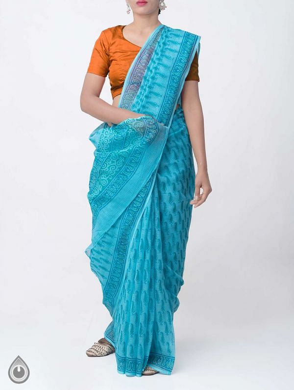 Online Shopping for Cyan Blue Hand Block Printed Pure Kota Cotton Saree with Hand Block Prints from Rajasthan at Unnatisilks.comIndia