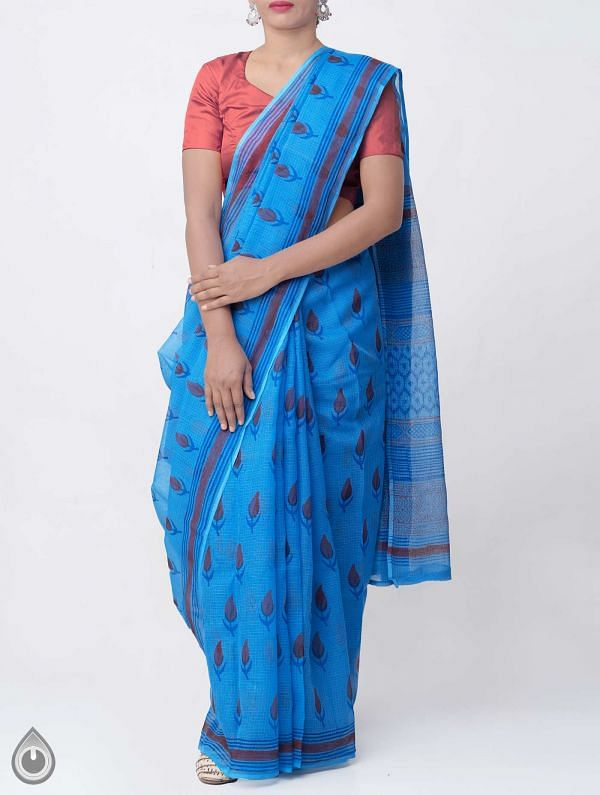 Online Shopping for Blue Hand Block Printed Pure Kota Cotton Saree with Hand Block Prints from Rajasthan at Unnatisilks.comIndia