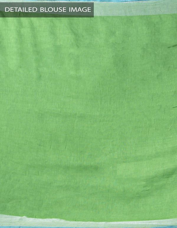 Online Shopping for Green Pure Handloom Linen Saree with Digital Prints from Chattisgarh at Unnatisilks.comIndia