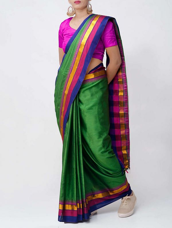 Online Shopping for Green Pure Handloom Narayanpet Silk Cotton Saree with Tassels with Weaving from Andhra Pradesh at Unnatisilks.comIndia