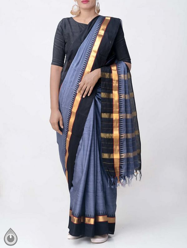 Online Shopping for Grey Pure Handloom Narayanpet Silk Cotton Saree with Tassels with Weaving from Andhra Pradesh at Unnatisilks.comIndia