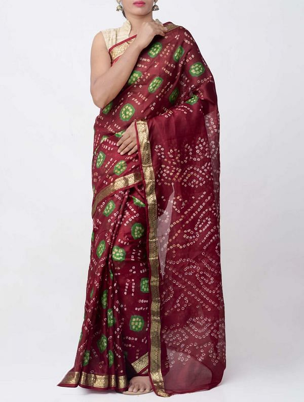 Online Shopping for Maroon Pure Bandhani Silk Saree with Tie and Dye Bandhani from Rajasthan at Unnatisilks.comIndia