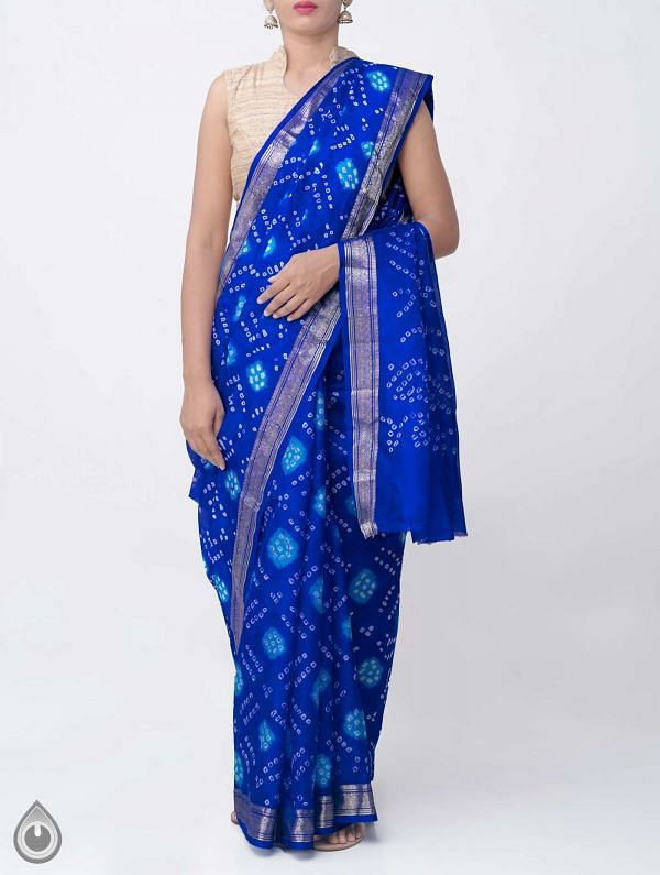 Online Shopping for Violet Pure Bandhani Silk Saree with Tie and Dye Bandhani from Rajasthan at Unnatisilks.comIndia