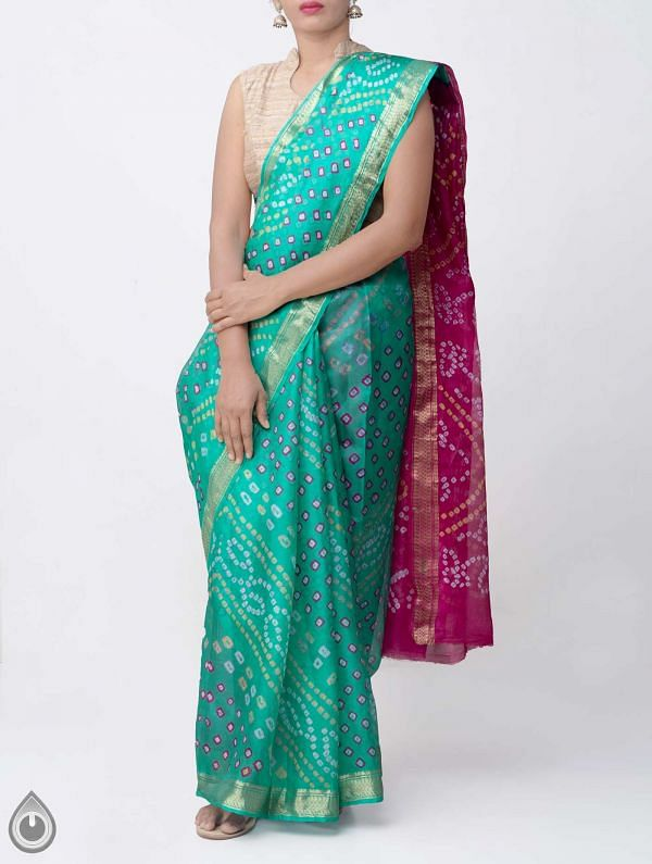 Online Shopping for Green Pure Bandhani Silk Saree with Tie and Dye Bandhani from Rajasthan at Unnatisilks.comIndia