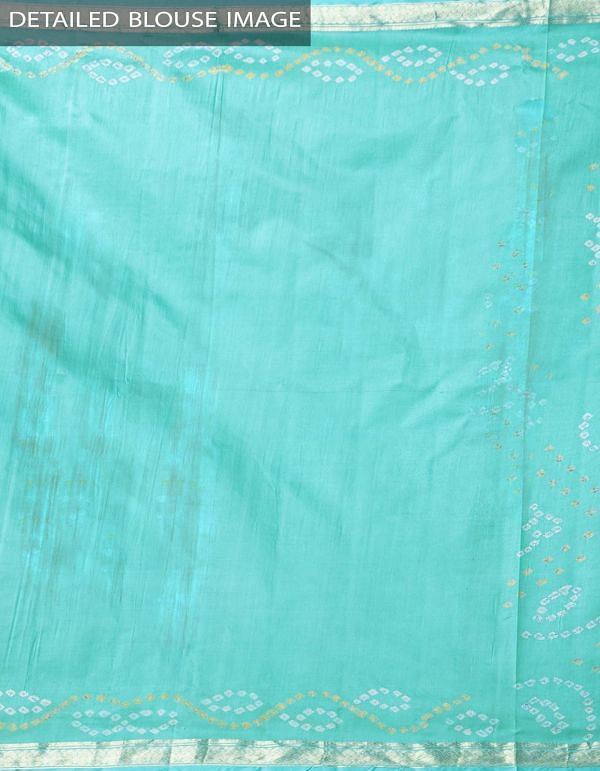 Online Shopping for Turquoise Blue Pure Bandhani Silk Saree with Tie and Dye Bandhani from Rajasthan at Unnatisilks.comIndia