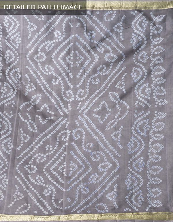 Online Shopping for Grey Pure Bandhani Silk Saree with Tie and Dye Bandhani from Rajasthan at Unnatisilks.comIndia