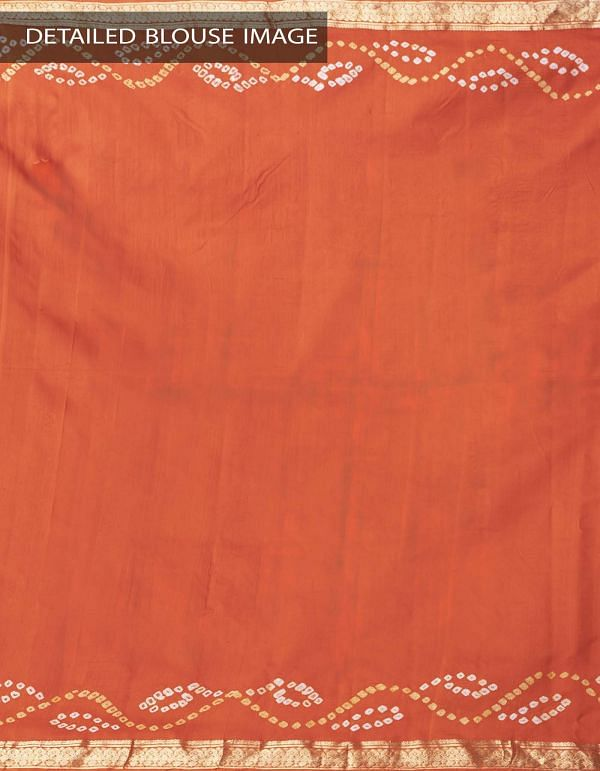 Online Shopping for Orange Pure Bandhani Silk Saree with Tie and Dye Bandhani from Rajasthan at Unnatisilks.comIndia