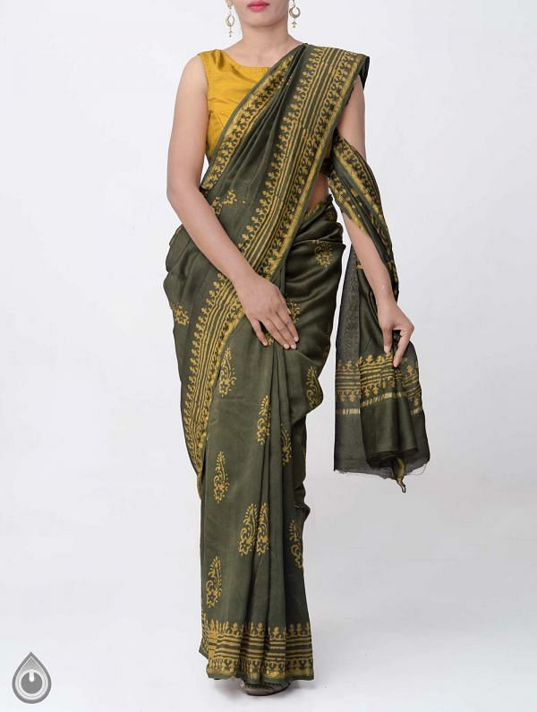 Online Shopping for Green Pure Chanderi Sico Saree with Batik Prints with Tie and Dye Bandhani from Rajasthan at Unnatisilks.comIndia