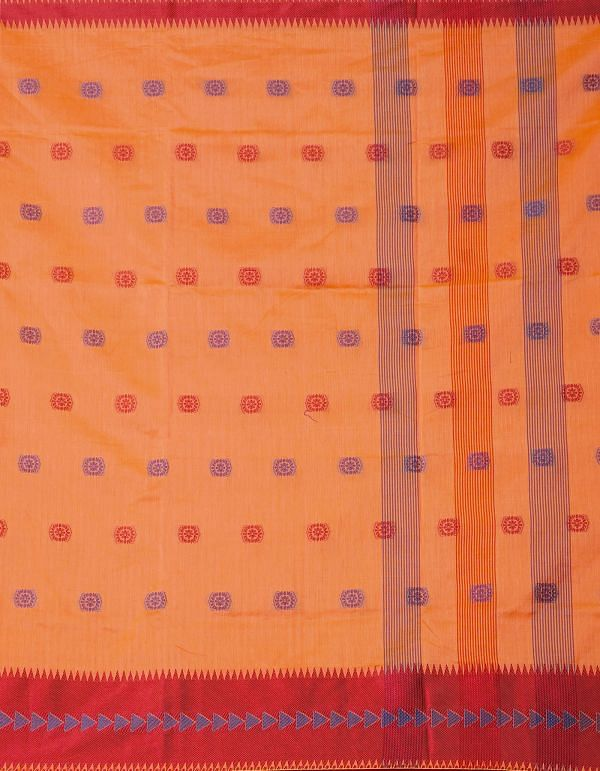 Online Shopping for Orange Pure Kanchi Sico Saree with Weaving from Tamilnadu at Unnatisilks.comIndia