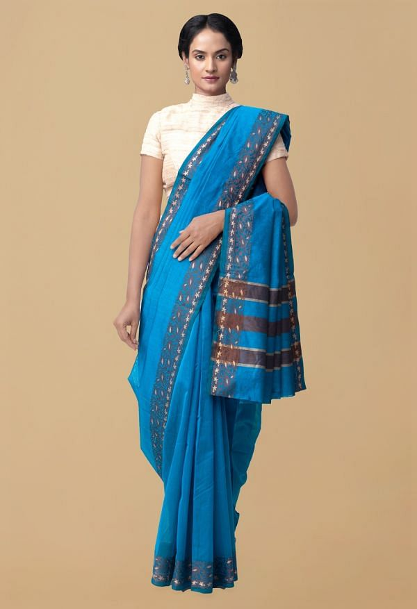 Online Shopping for Blue Pure Chettinad Sico Saree with Weaving from Tamilnadu at Unnatisilks.comIndia