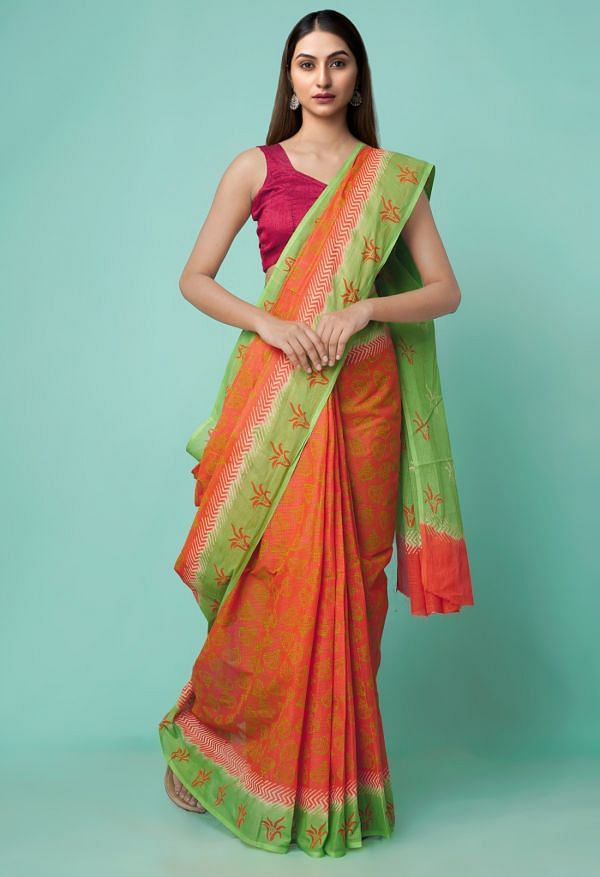 Online Shopping for Orange Kota Organza Cotton Saree with Hand Block Prints with Hand Block Prints from Rajasthan at Unnatisilks.comIndia