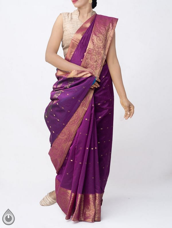 Online Shopping for Purple Pure Kanchi Sico Saree with Weaving from Tamilnadu at Unnatisilks.comIndia
