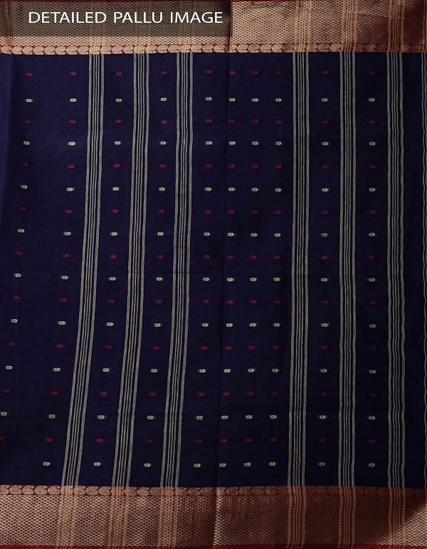 Online Shopping for Navy Blue Pure Handloom Bengal Cotton Tant Saree with Weaving from West Bengal at Unnatisilks.comIndia