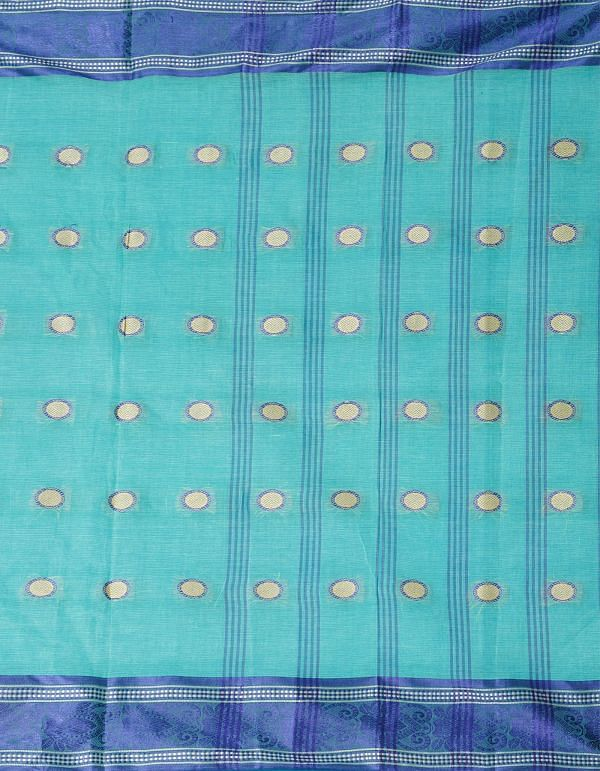 Online Shopping for Turquoise Blue Pure Handloom Bengal Cotton Tant Saree with Weaving from West Bengal at Unnatisilks.comIndia
