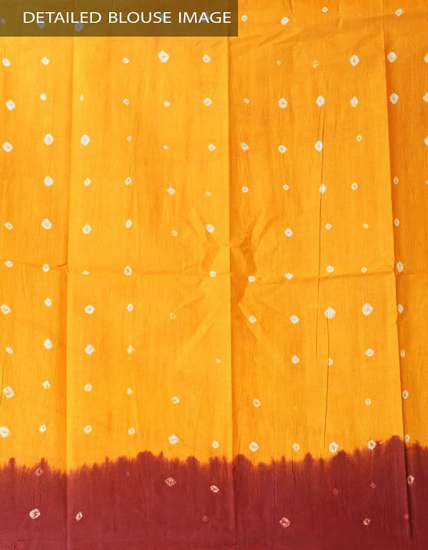 Online Shopping for Maroon-Yellow Pure Bandhani Cotton Saree with Tie and Dye Bandhani from Rajasthan at Unnatisilks.comIndia