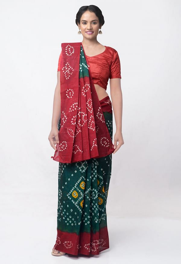 Online Shopping for Green-Maroon Pure Bandhani Cotton Saree with Tie and Dye Bandhani from Rajasthan at Unnatisilks.comIndia
