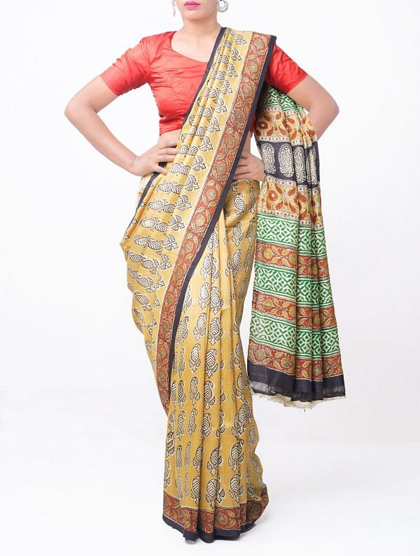 Online Shopping for yellow Dabu and Bagru Printed Pure Handloom Tussar Silk Saree with Weaving from Andhra Pradesh at Unnatisilks.comIndia