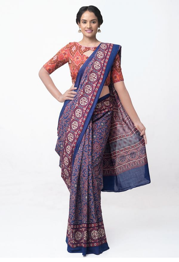 Online Shopping for Blue Super Fine Pure Mulmul Cotton Saree with Ajrakh Prints with Ajrakh Prints from Rajasthan at Unnatisilks.comIndia