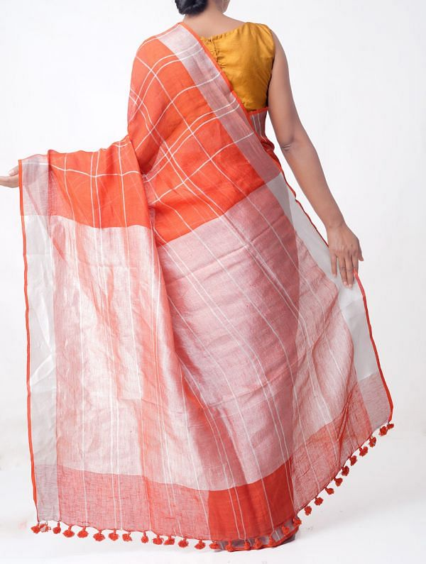 Red Pure Handloom Linen Checks Saree with Tassels