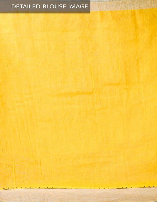 Yellow Pure Handloom Linen Saree with Tassels